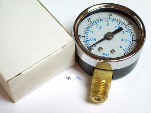 "Utility Gauge 1-1/2"" Face Steel Case 0-60 PSI/kPa/Bar 1/8"" NPT Brass Lower Connection Dry"