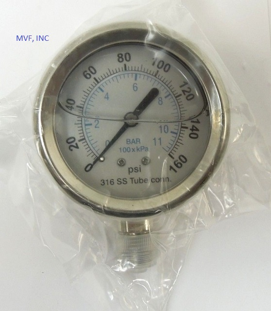 "Industrial Gauge 2-1/2"" Face S/S Case 0-160 PSI/kPa/Bar 1/4"" NPT 316SS Lower Connection Liquid Filled"