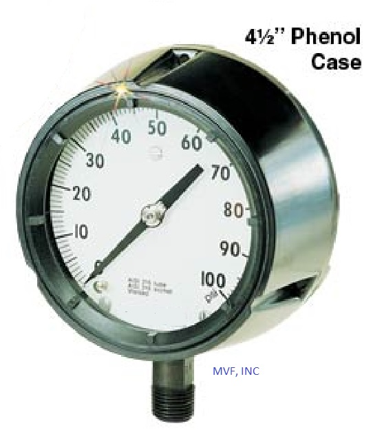 "Process Gauge 4-1/2"" Face Phenolic Case 0-160 PSI 1/2"" NPT 316SS Lower Connection Dry"
