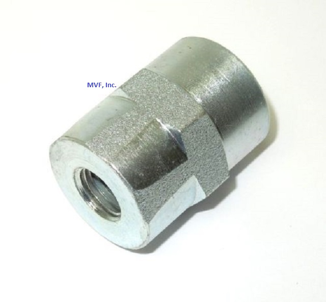 "1/8"" FNPT x 1/8"" FNPT Hex Connector Plated Steel Hydraulic Pipe Adapter 5000-02-02"