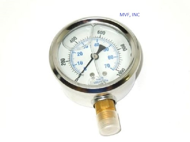 "Industrial Gauge 2-1/2"" Face S/S Case 0-1000 PSI/kPa/Bar 1/4"" NPT Brass Lower Connection Liquid Filled"