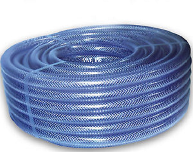 "Tubing, Braided PVC FDA CLEAR, 1/4"" ID X 0.44"" OD, 100' LENGTH FREE S&H"