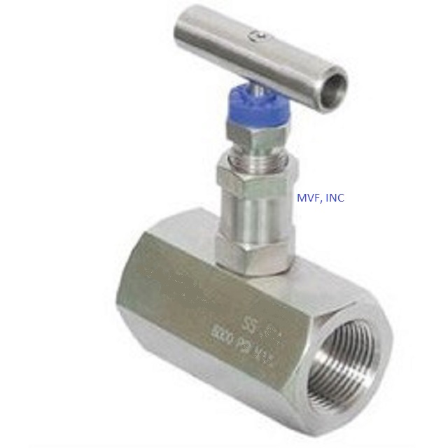 "Needle Valve 1/2"" Female NPT x 1/2"" Female NPT 6000 PSI Stainless Steel Body, Delrin Seats, NACE, T-Bar Handle"