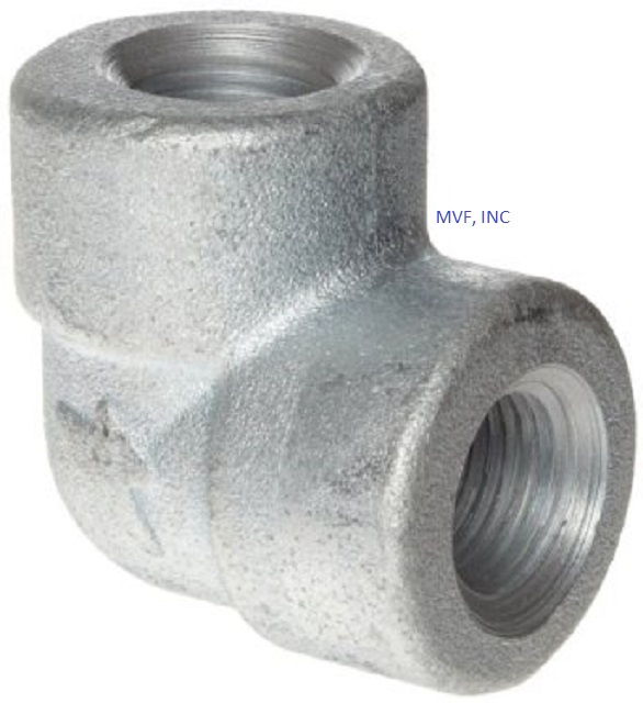 "1-1/4"" 3000 Threaded (NPT) 90° Elbow Forged Steel A105 Galvanized NEW SURPLUS"