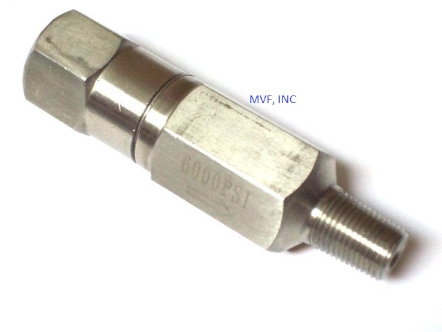 "Inline Check Valve 1/8"" Male X Female NPT 6000 psi, 316 Stainless Steel"