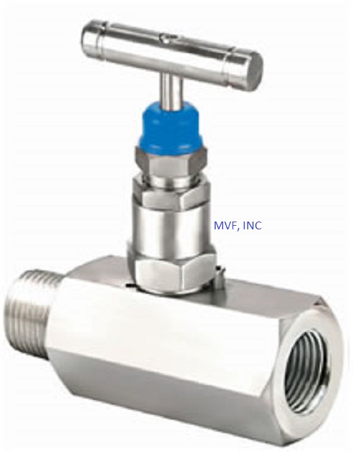 "Needle Valve 1/2"" Male NPT x 1/2"" Female NPT 6000 PSI Stainless Steel Body, Delrin Seats, NACE, T-Bar Handle"
