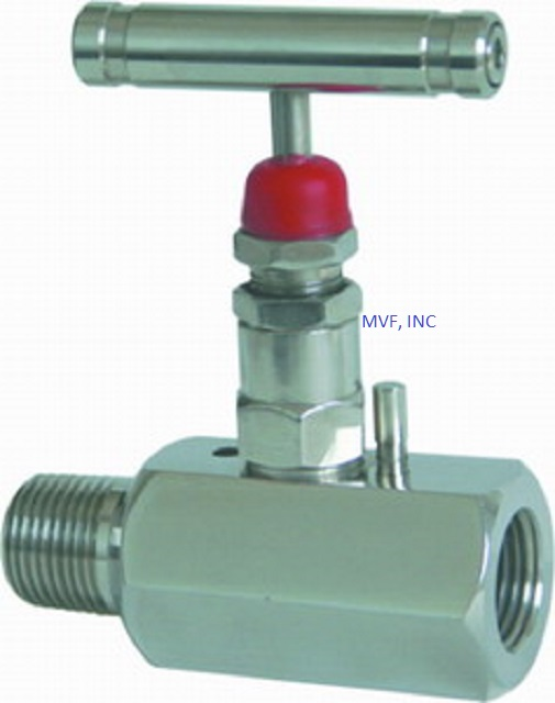 "Needle Valve 1/2"" Male NPT x 1/2"" Female NPT 10,000 PSI Stainless Steel Body, Metal Seats, NACE, T-Bar Handle"
