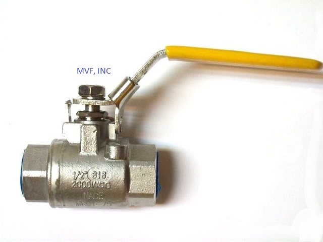 "Ball Valve 1/4"" 2000 wog, 316 Stainless Steel (CF8M), 2-Piece Seal Welded Body, Full Port, Female NPT, 316 Stainless Trim"