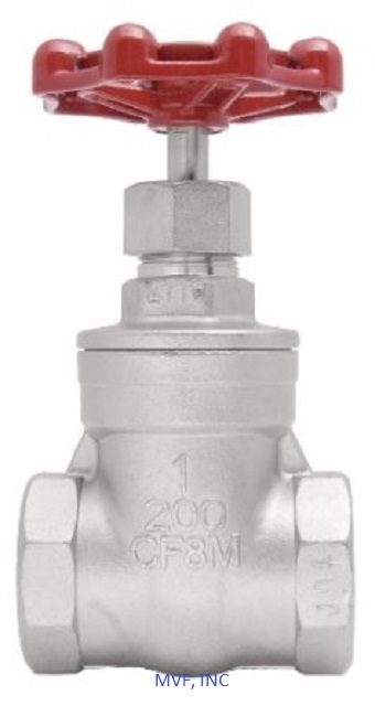 "Threaded End (NPT) Gate Valve 1/2"" 200 WOG, 316 Stainless Steel"