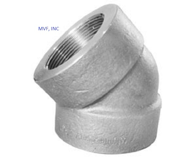 "1/2"" 3000 Threaded (NPT) 45° Elbow Forged Steel A105 NEW SURPLUS"
