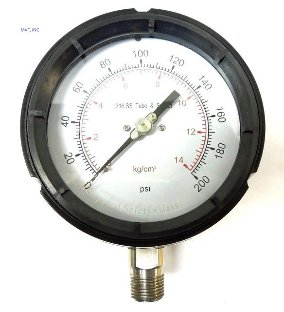 "Process Gauge 4-1/2"" Face Phenolic Case, 0-200 PSI/ kg/cm2, PSI 1/2"" NPT 316SS Lower Connection Dry"