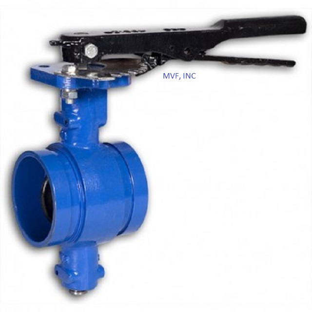 "Grooved End Butterfly Valve 2"" 200 cwp, Ductile Iron, Disc Encapsulated with Buna, Lever Operated"