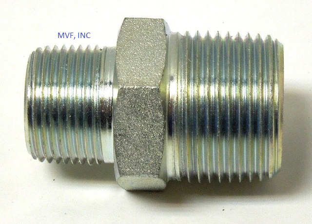 "1/8"" MNPT x 1/8"" MNPT Hex Nipple Plated Steel Hydraulic Pipe Adapter 5404-02-02"