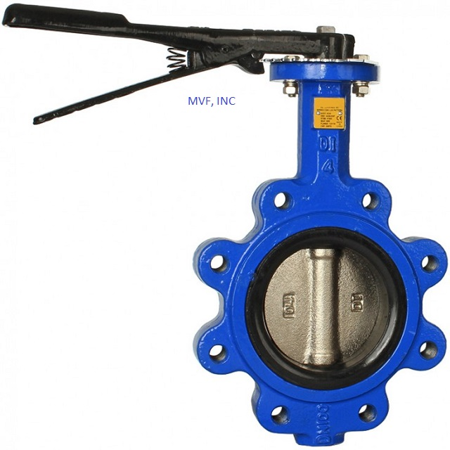 "Lug Butterfly Valve 2"" 200 cwp, Body: Ductile Iron, Disc: Aluminum Bronze, Seat: Buna-N, Lever Operated"