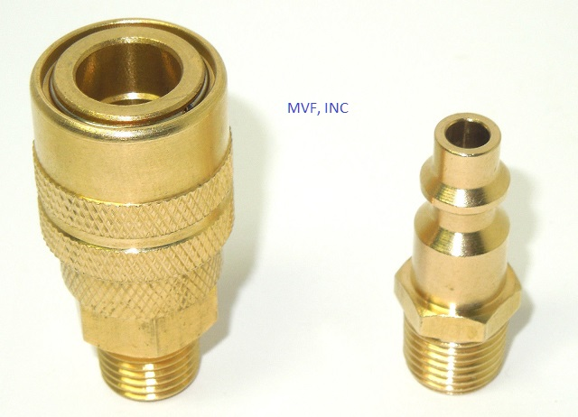 "Air Hose Quick Connect Brass 1/4"" Male Assembly Socket and Plug MIL-4109C"