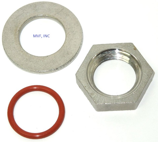 "Weldless Thermometer Install Kit for 1/2"" NPT, Lock Nut, Flat Washer, O-Ring FREE S&H"