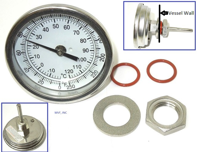 "Weldless Thermometer Kit 3"" Face, 2-1/2"" Stem Length, 0-250°F, 1/2"" NPT Straight Back FREE S&H"